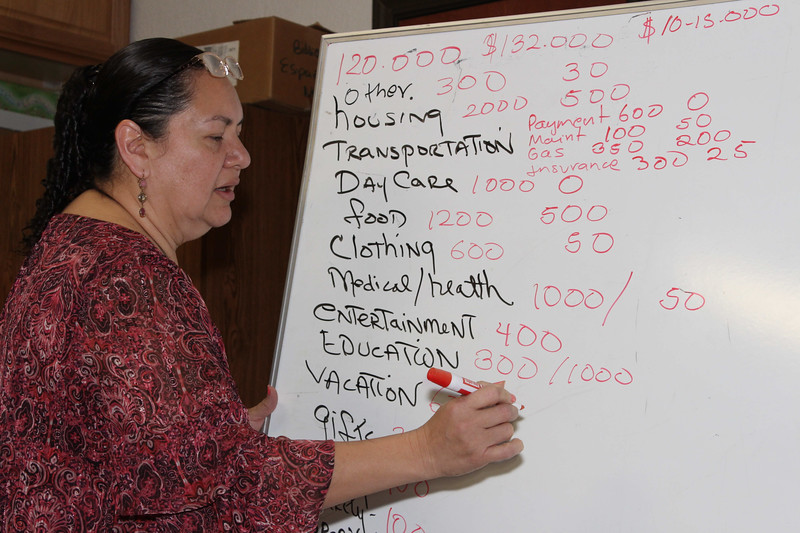 WELCA/Ammparo Border Immersion trip, February 1-5 2020, El Paso, Texas | <br /> <br /> <br /> Pastor Rose Mary talks to the group about the economic realities of the members in her community.