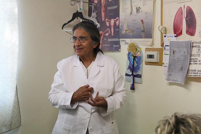 WELCA/Ammparo Border Immersion trip, February 1-5 2020, El Paso, Texas | <br /> <br /> <br /> Dra. San Juana Mendoza-Bruce runs the clinic that offers medical and dental services to the community. Patients are seen for30 pesos, or $1.50 in USD. Children 0-15 and adults over 60 are free.