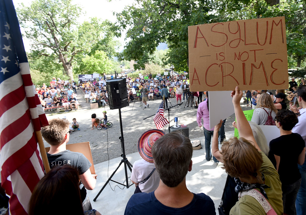 . About  200 people protested in Central Park in Boulder on Friday about the Trump separation policy at the border with Mexico. For more photos, go to dailycamera.com. Cliff Grassmick  Staff Photographer  June 22, 2018