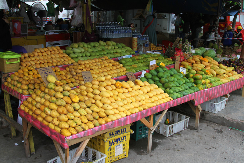 Various Mangos on sale at the Philippine Market on the waterfront.