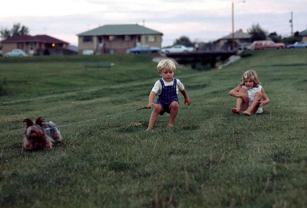 Charmin, David and Sherrie, at the park next to Porter Hospital, after I transferred to be Chaplain, about 1970.