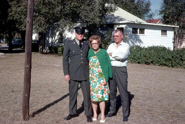 Medical Corpsman Jim, mom and dad in Goodland, Kansas, where I was a pastor.