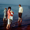 Linda Anderson, Marion and Sherrie, Wayne Anderson, Lake Michigan, about 1966.