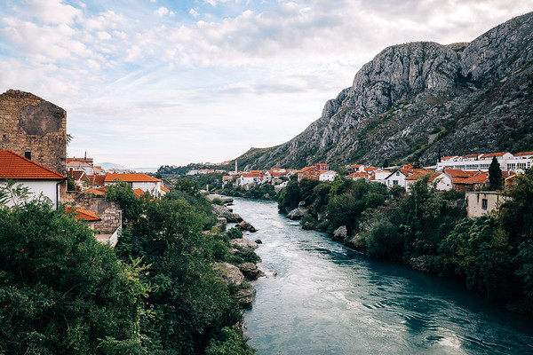 View on a part of the city of Mostar in Bosnia and Herzegovina.