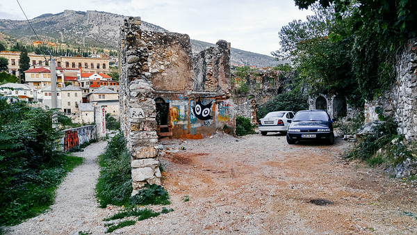 Ruins in the city of Mostar in Bosnia.