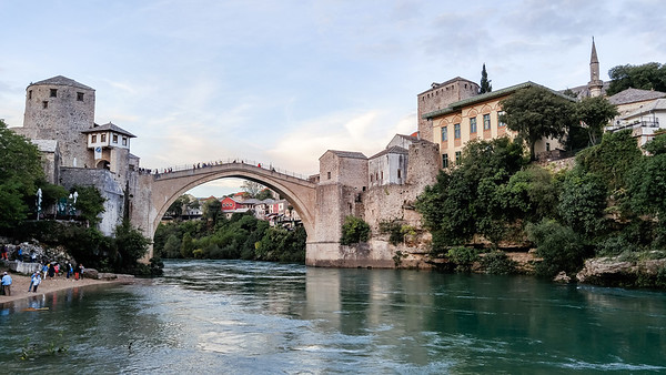 View on the Stari Most old bridge and the Neretva river in the city of Mostar in Bosnia and Herzegovina.