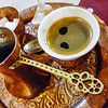 Traditional Bosnian coffee in a restaurant in Mostar, Bosnia and Herzegovina.