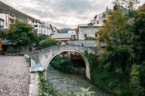 Bridge in the Old Town of Mostar in Bosnia.