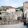 On the Stari Most old bridge in the city of Mostar in Bosnia.