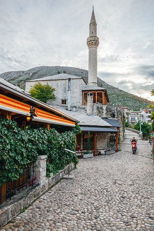 Motorcycle in a street of Mostar's Old Town in Bosnia.