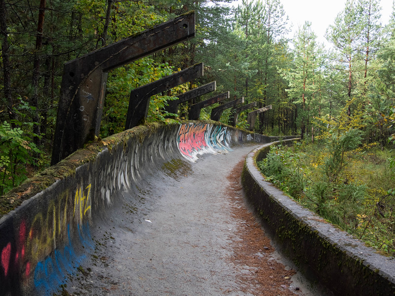 During the Bosnian War, the Olympic Bobsled track was damaged and abandoned. Today, it's a graffiti tagger's paradise, a place to ride a bike with a GoPro on your head, and a tourist favorite.