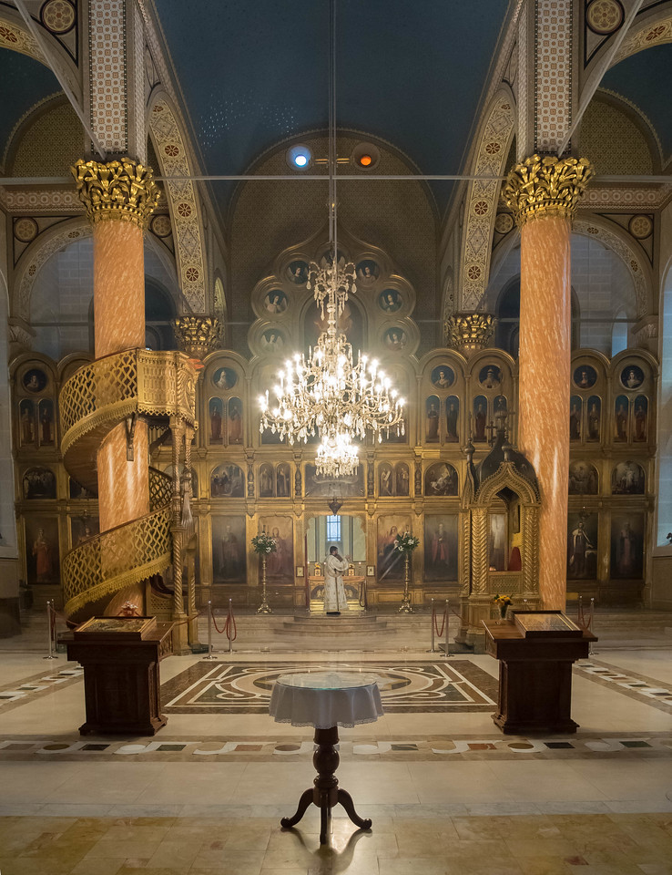 Eastern Orthodox Cathedral in Sarajevo.  The Serbs are primarily Eastern Orthodox and make up about 30% of the Bosnia population, but only about 4% in Sarajevo.  <br /> This is an actual service, which I didn't realize when I was photographing.  There are no pews and the people at the service are standing near me.
