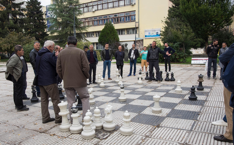 There's usually a rousing game of chess downtown.  It involves equal parts encouragement and heckling from the crowd.  The video that follows is horrible quality, but the sounds of the men talking trash is part of the experience.