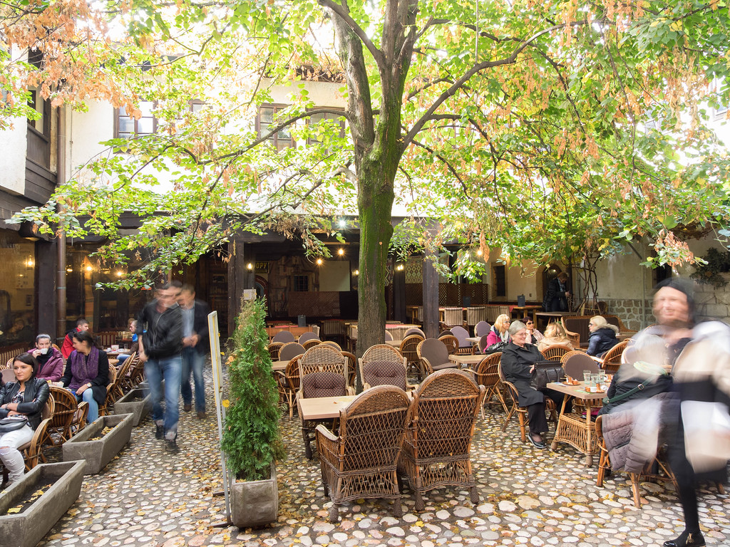 The 16th century courtyard where traders and their camels used to lodge.  Today it's shops and restaurants.