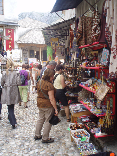 The old cobblestone streets are packed with souvenir stands.