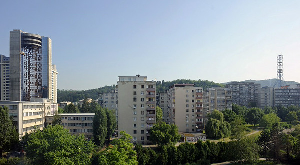 Tuzla, Bosnia - Hercegovina, Thurs 12 June 2014 1.  Tuzla is the third largest city in Bosnia - Hercegovina.  We saw very little of it, but here are two views through windows of the Tuzla Hotel.