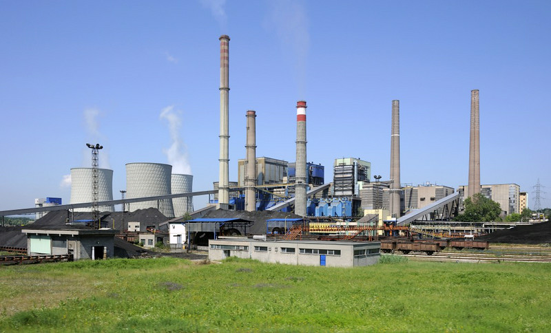 Tuzla power station, Tuzla, Bosnia-Hercegovina, 10 June 2014.  This is the largest power station in Bosnia-Hercegovina.  It burns 330,000 tonnes of coal a year, most from the Kreka and Banovici mines.  NB the coal stockpiles and standard gauge wagons.