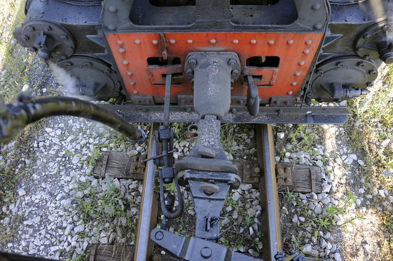 55-99, Grivice, Bosnia-Hercegovina, Tues 10 June 2014 3.  A view of the buffer and coupling arrangements.  One of the two screw couplings, intended to keep the buffers in contact, is missing.