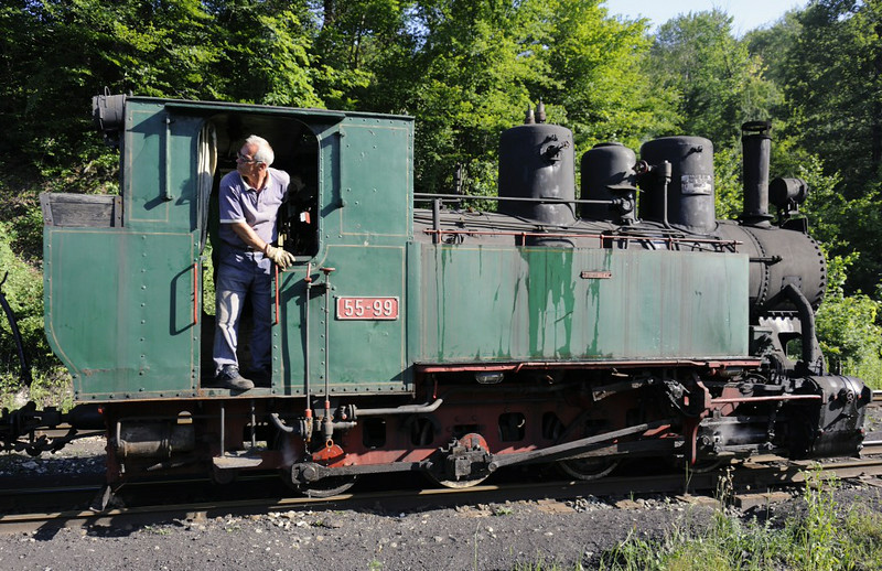 55-99, Oskova, Bosnia-Hercegovina, Tues 10 June 2014 2.  One of 11 0-8-0T supplied new to the Banovici railway by Budapest Loco Works as reparations after the Second World War, when Hungary had backed Hitler.  It was returned to steam in 2009 after some 20 years on a plinth at Banovici.  Banovici always has one loco in steam, primarily for shunting at the washery.
