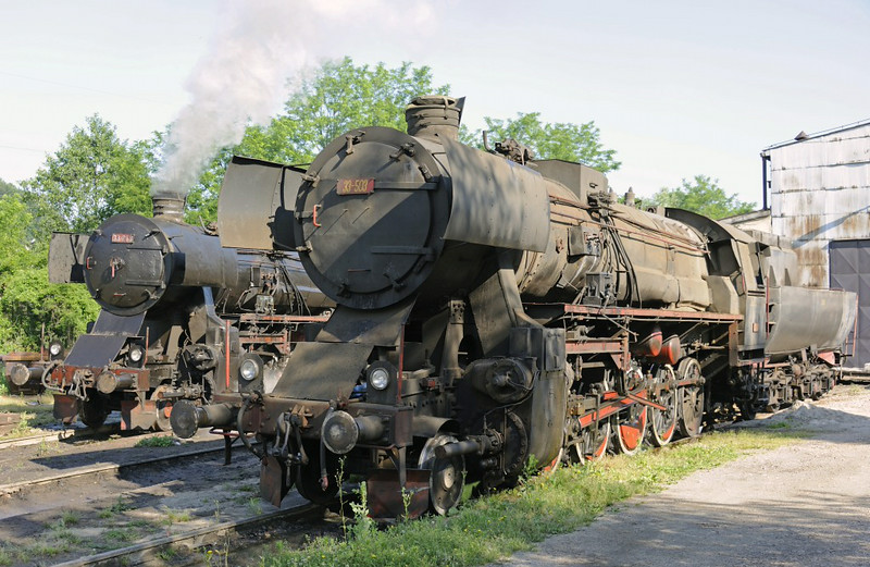 33-248 & 33-503, Bukinje loco shed, Tuzla, Bosnia-Hercegovina, Tues 10 June 2014 2.  33-503 was DRG 52.1345, and was built in Poznan by Cegielski (812 / 1944).  33-064 was working at Dobroj coal mine.