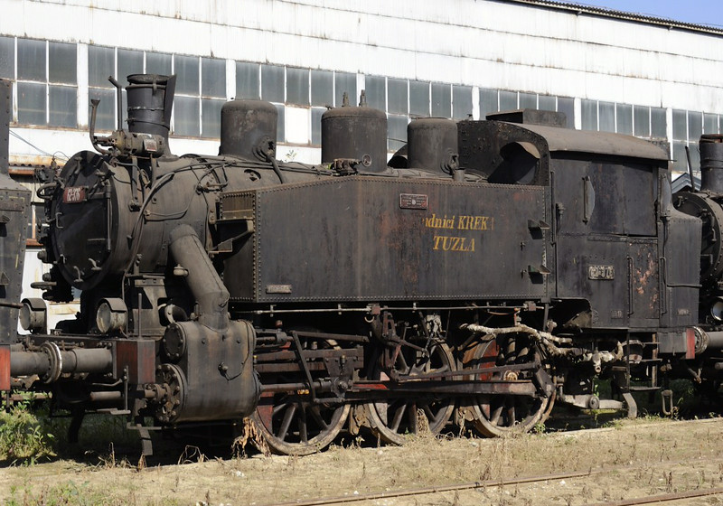 62-376, Bukinje loco shed, Tuzla, Bosnia-Hercegovina, Tues 10 June 2014.  Built for industrial use by Djuro Djakovic (376 / 1954).  The lettering = Rudnici Kreka Tuzla = Kreka coal mine, Tuzla.