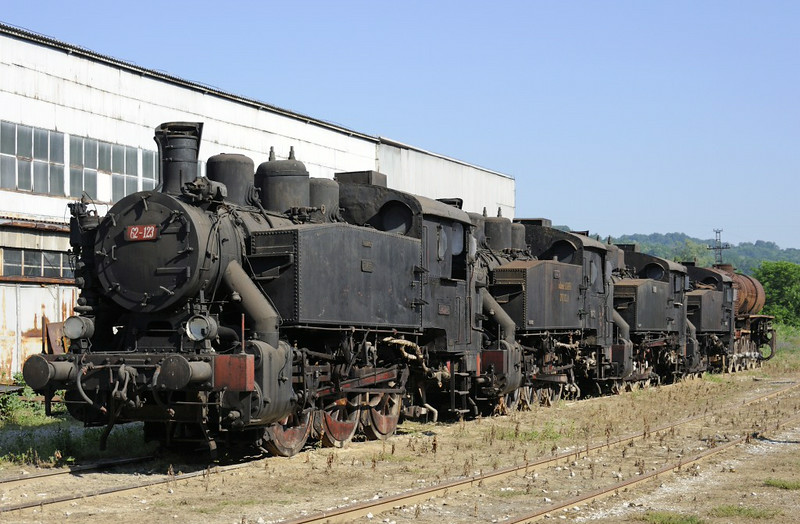 62-123, 62-376, 62-637, 62-368 & 33-216, Bukinje loco shed, Tuzla, Bosnia-Hercegovina, Tues 10 June 2014.  All the class 62s were built in Slavonski Brod, now in Croatia, by Djuro Djakovic.