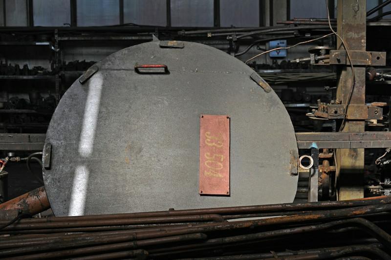 33-504, Bukinje loco shed, Tuzla, Bosnia-Hercegovina, Tues 10 June 2014 1.  Here are six shots of this Kriegslok being overhauled.  It was originally DRG 52.793, built by Henschel (28118 / 1944).