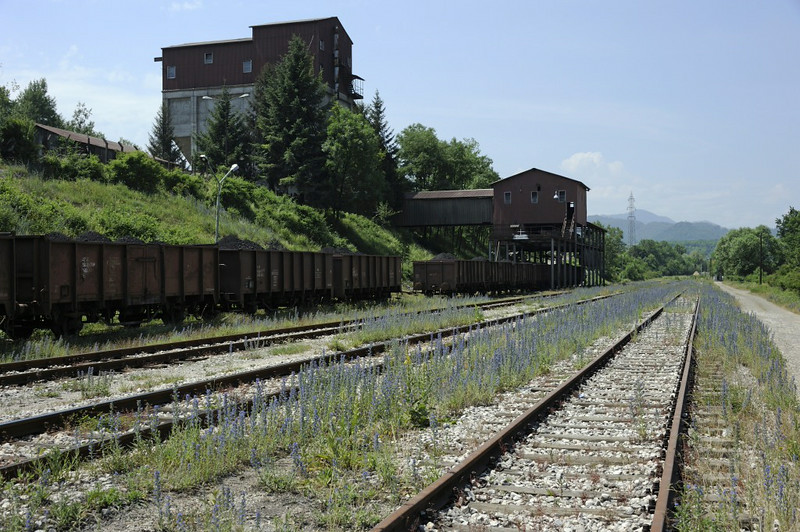 Coal loading point between Zivinice and Banovici, Bosnia-Hercegovina, Wed 11 June 2014 - 1135.  Looking west towards Banovici coal washery.  I have not found a name for this location.