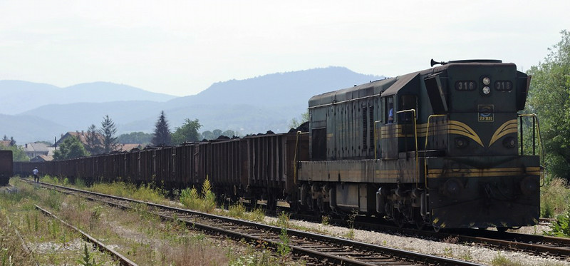 Bosnia-Hercegovina Federation Rlys (ZFBH) 661-316, Zivinice, Bosnia-Hercegovina, Wed 11 June 2014 - 1119.  The loco seen earlier at Ljubace heads back north towards Tuzla power station with a loaded coal train.