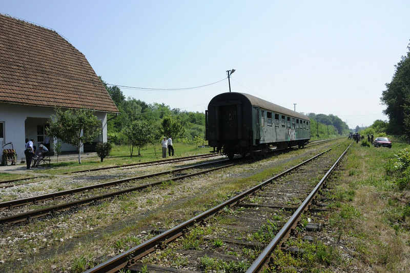 Ljubace station, Bosnia-Hercegovina, Wed 11 June 2014 2.  Looking south towards Zivinice.  19-12 is in the far distance, running round our very shabby coach.