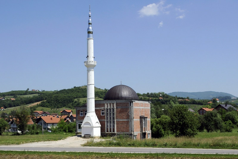 Mosque, Tinja, between Mramor and Srebrenik, Bosnia-Hercegovina, Tues 10 June 2014.  This may be a replacement for one destroyed during the 1992 - 1995 Bosnian War.