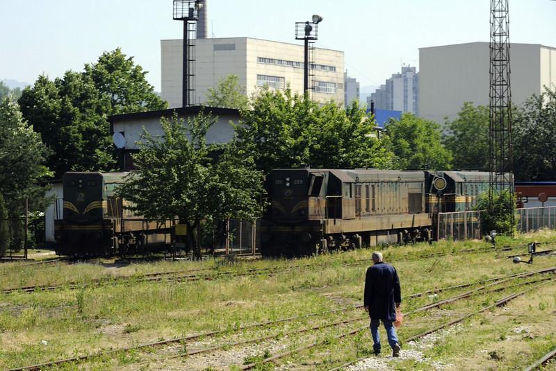 Bosnia-Hercegovina Federation Rlys (ZFBH) 661-316, 661-308 & 661-323, Tuzla traction depot, Bosnia-Hercegovina, Tues 10 June 2014 - 1003.  We will see 316 later at Lukavac.