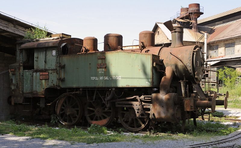 Yugoslav Railways (JZ) 62-121, Slovenian Railway Museum, Ljubljana, 8 June 2014.  0-6-0T built in Slavonski Brod, Croatia, by Djakovic (628 / 1957).