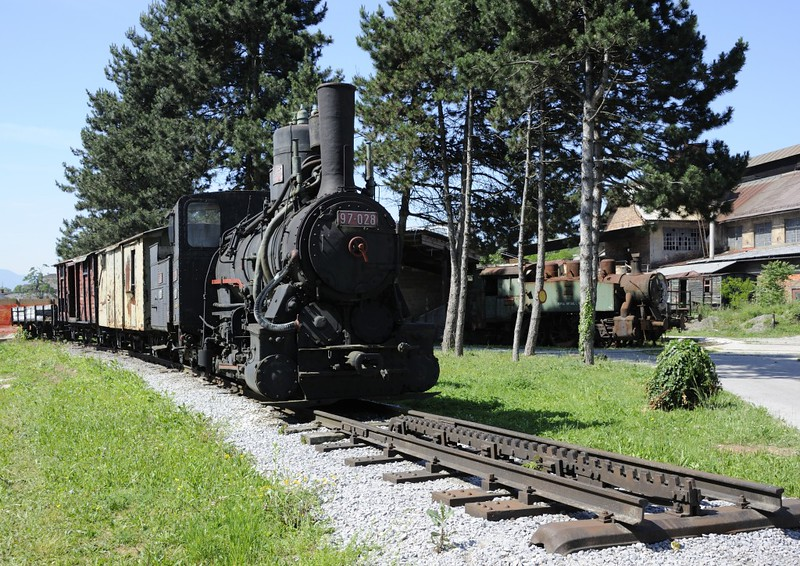 Yugoslav Railways (JZ) 97-028, Slovenian Railway Museum, Ljubljana, 8 June 2014 1.  76cm gauge cogwheel 0-6-0 built in Vienna by Floridsdorf (2149 / 1913) for the Bosnia - Herzegovina Provincial Rly (BHLB).  One of 38 class 97 rack and adhesion locos built between 1894 and 1919 for the Abt rack section between Bradina and Konjic on the Sarajevo - Mostar line.  They were very successful and worked into the 1960s, though never in Slovenia.  Here are five photos.