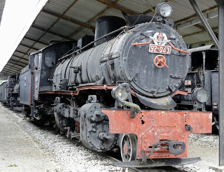Yugoslav Rlys (JZ) 92-043, Pozega railway museum, Serbia, Mon 16 June 2014 1.  76cm gauge compound Mallet 2-6-6-0 built by Henschel (19472 or 19481 / 1922).  NB the missing chimney.