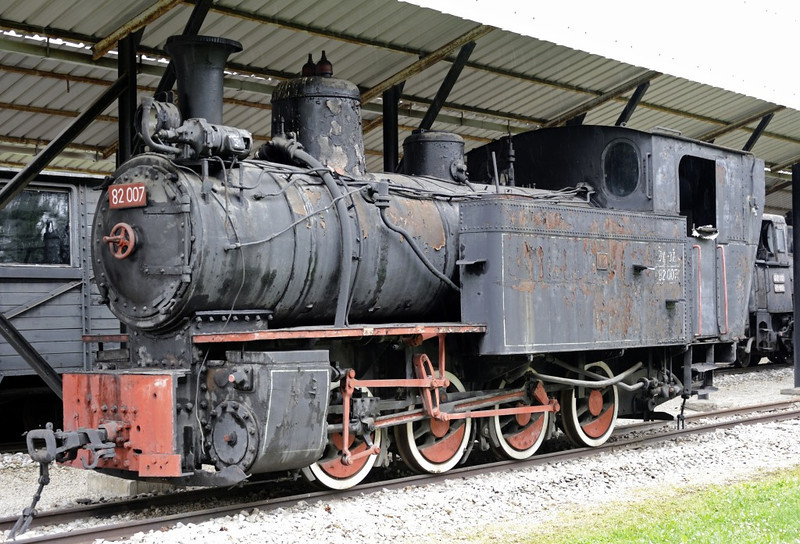 Yugoslav Rlys (JZ) 82-007, Pozega railway museum, Serbia, Mon 16 June 2014.   76cm gauge 0-8-0T built by Swiss Loco Works, Winterthur (2262 / 1911)  for the Bor copper mine.  Bought by Yugoslav Rlys after 1945.