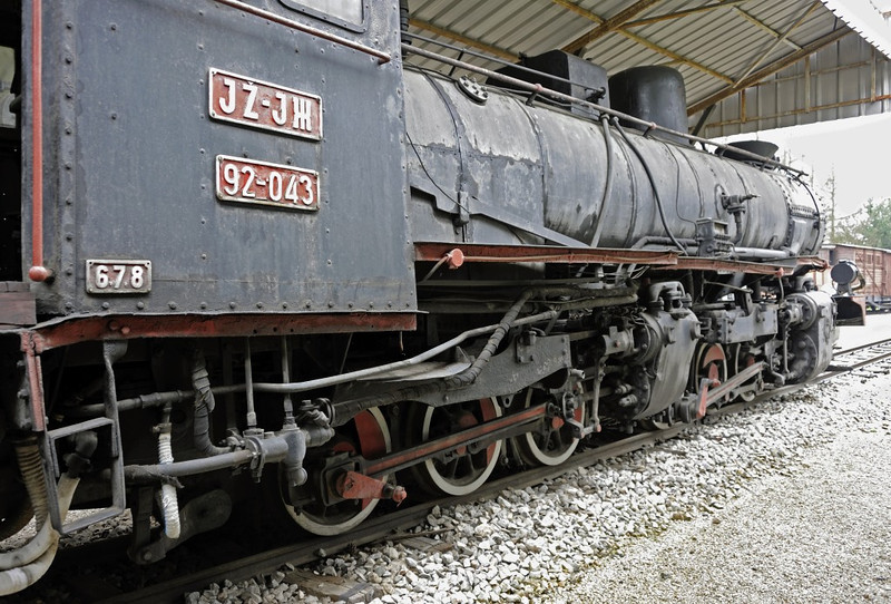 Yugoslav Rlys (JZ) 92-043, Pozega railway museum, Serbia, Mon 16 June 2014 2.  The plate at left indicates the number of driving axles (6), the total number of axles (7) and the maximum axle wight (8 tonnes).