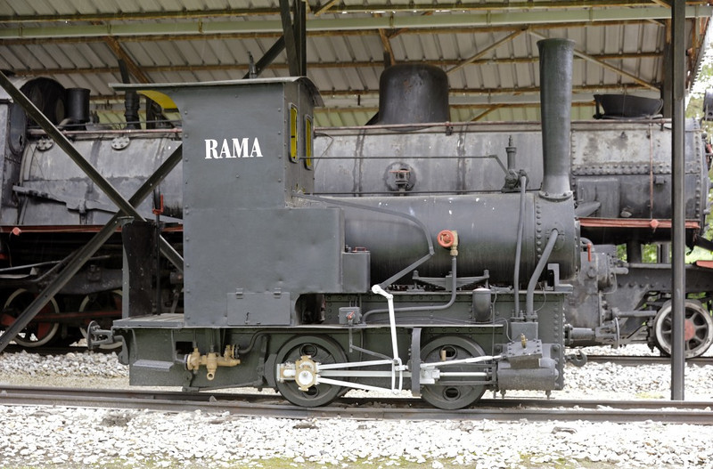 Rama, Pozega railway museum, Serbia, Mon 16 June 2014.  76cm gauge 0-4-0T built in Munich by Krauss (264 / 1873).  Used in the construction of the narrow gauge network in Bosnia - Herzegovina, and possiby the oldest surviving narrow gauge loco in south eastern Europe.