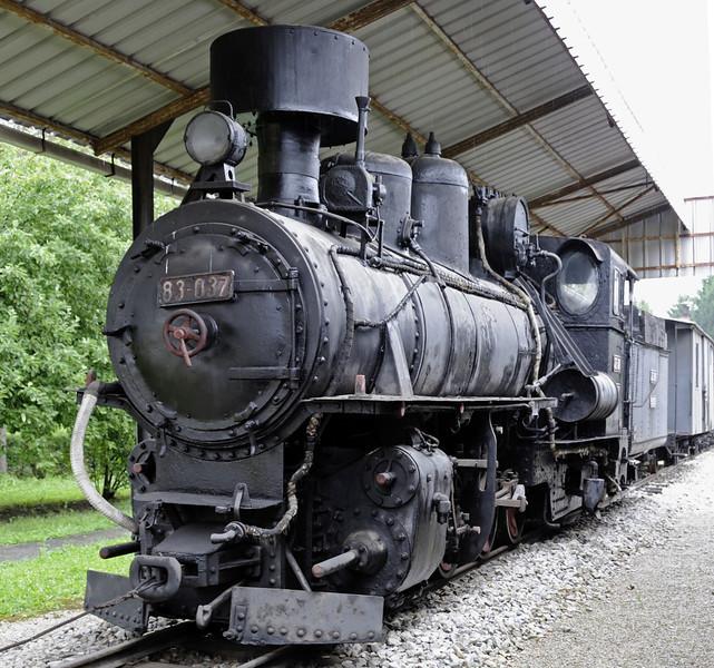 Yugoslav Rlys (JZ) 83-037, Pozega railway museum, Serbia, Mon 16 June 2014 1.  76cm gauge 0-8-2 built by Budapest Loco Works (4999 / 1929).