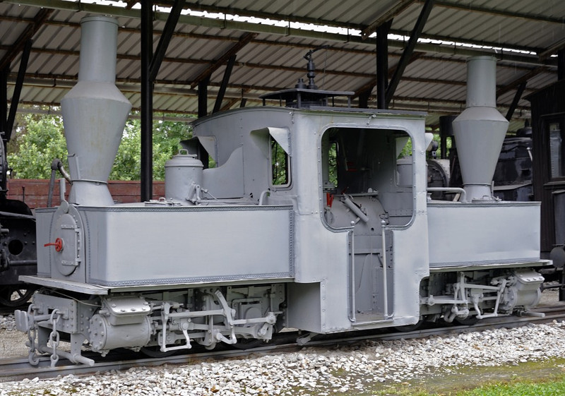 Unidentified Pechot-Bourdon 0-4-0+0-4-0T, Pozega railway museum, Serbia, Mon 16 June 2014 1.  French army officers Pechot and Bourdon designed this 60cm gauge articulated type for artillery transport before the First World War.  Large numbers were built by French firms, but they could not meet demand so 15 were built by North British and 280 by Baldwin, all delivered in 1915-1916.  This loco was reportedly built by Badwin, and is believed to have been transferred to Serbia during the Second World War by the Germans.  It subsequently found industrial use in Serbia.  The only other Pechot-Bourdon survivor is in Dresden transport museum.