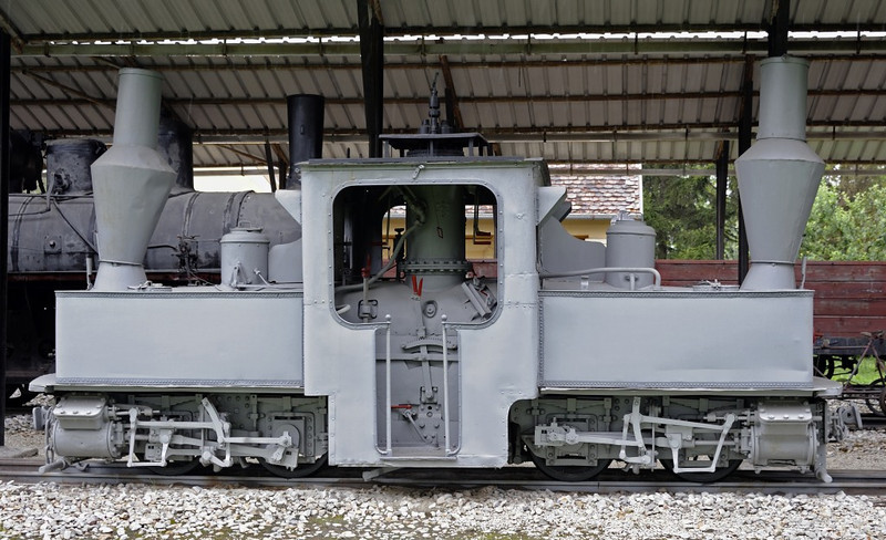 Unidentified Pechot-Bourdon 0-4-0+0-4-0T, Pozega railway museum, Serbia, Mon 16 June 2014 2.  Although vey similar to the Fairlie type, it had only one firebox with the steam dome seen here above it.
