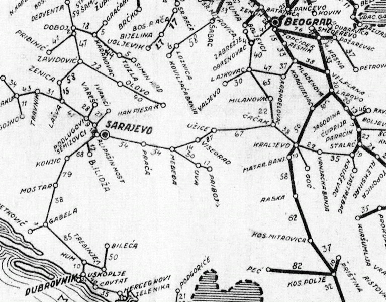 Map of the Belgrade (Beograd) - Sarajevo 76cm gauge railway in 1938.  The Sargan 8 section is between Visegrad and Uzice, in the centre of the map.  It was the only link between the Bosnian and Serbian narrow gauge systems.  NB that the Bosnian 76cm network extended south from Sarajevo to Dubrovnik and the Adriatic, as well as north and west