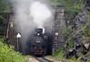 Jugoslav Rlys (JZ) 83-052, leaving tunnel 32, Sargan Vitasi, Serbia,  Sun 15 June 2014 1 - 1158.  Here are two runpast shots.