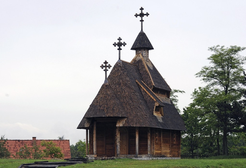 Wooden Serb Orthodox church, Sargan Vitasi, Serbia, Sun 15 June 2014.  Modern?