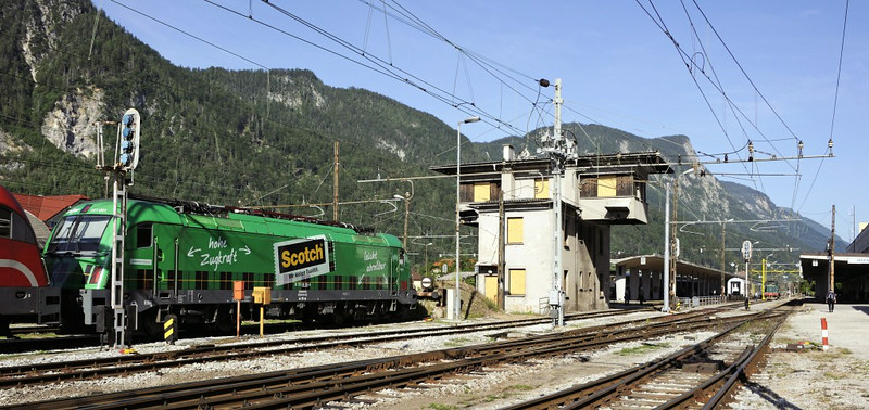 Jesenice station, Slovenia, Sat 7 June 2014.  Looking north towards Austria.  Border changes mean that a number of places had German or Italian names before the Slovene name used now.  Jesenice used to be known as Assling.
