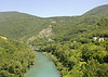 Soca (Isonzo) river, approaching Nova Gorica, Slovenia, 7 June 2014 - 1300.  Looking east from the Solkan bridge, which features on the return from Nova Gorica.