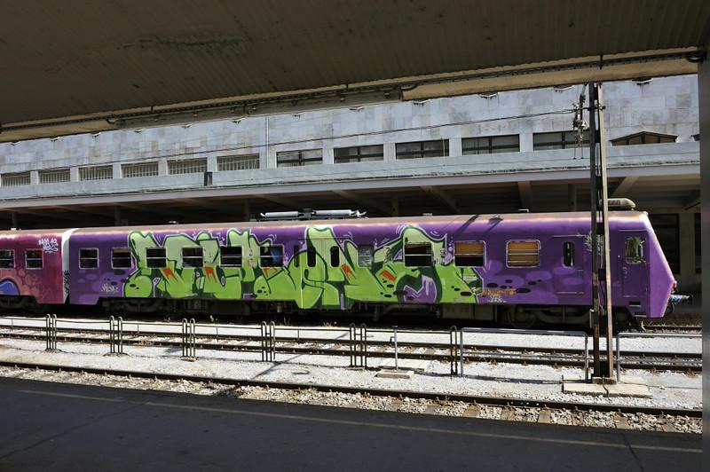 Slovenian Rlys (SZ) 813-110, Jesenice station, Slovenia, Sat 7 June 2014.  Slovenian trains are heavily graffitied.