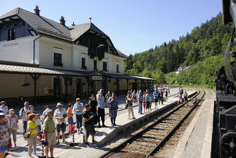 Bled Jezero station, Slovenia, Sat 7 June 2014 1 - 0958.  Bled used to be known as Veldes.