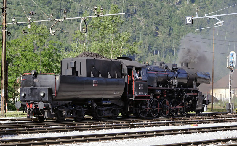 Slovenian Rlys (SZ) 33-037, Jesenice, Slovenia, Sat 7 June 2014 1.  The Kriegslok comes off shed to work the special train over the mountainous line to Nova Gorica.  These were due to run on 16 Saturdays in 2014.  We had been expecting 1930 2-8-2 No SZ 06-018, but it was on another job.