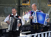 Accordionists, Jesenice station, Slovenia, Sat 7 June 2014.  They played all the way to Nova Gorica and back.  Their speciality for British ears was 'My bonny lies over the ocean'!  As will be seen, there was also an on-train cabaret.